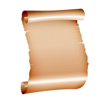 Vecchia carta pergamena in bianco su sfondo bianco.
