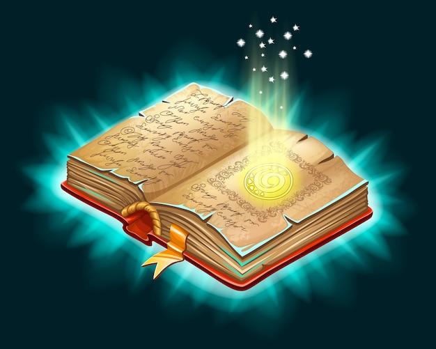 Vecchio libro di incantesimi e stregoneria.