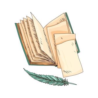 Libro vecchio. vecchia carta per appunti di vettore con la penna d'oca antica dell'annata. carta pergamena antica. cancelleria per scrittura retrò per lavori di poesia o educazione.