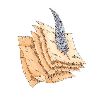 Libro vecchio. vecchia carta pergamena vettoriale con penna d'oca antica d'epoca. carta pergamena antica. cancelleria per scrivere retrò per lavori di poesia o educazione