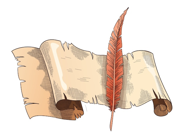 Vecchi libri. vecchia carta pergamena con penna antica vintage. pergamena. cancelleria per scrittura retrò per lavori di poesia o istruzione.