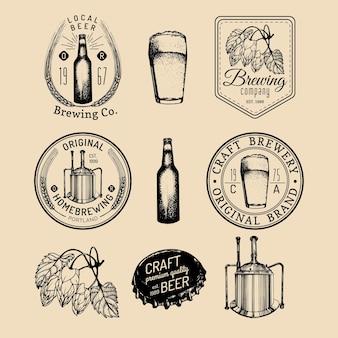 Set di loghi di vecchia fabbrica di birra.