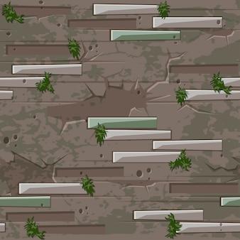 Vecchia struttura del muro di mattoni senza soluzione di continuità. pietre del mattone e reticolo senza giunte del muschio di erba.