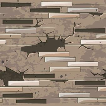 Vecchia struttura del muro di mattoni senza soluzione di continuità. modello senza cuciture di pietre di mattoni.