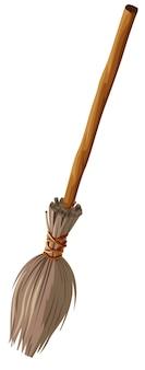 Vecchia scopa con manico lungo isolato su bianco
