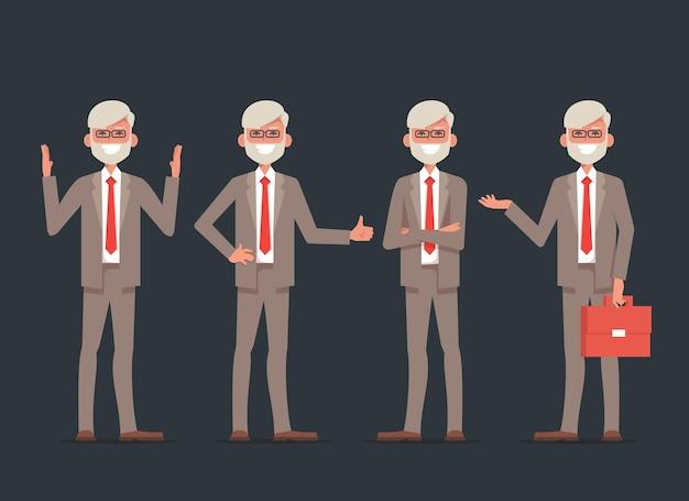 Set di caratteri del vecchio uomo d'affari.