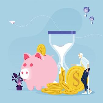 Uomo d'affari anziano con i soldi di pensione piano finanziario