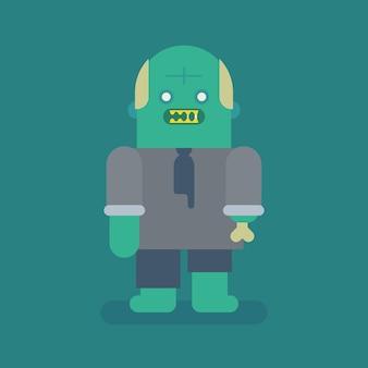 Vecchio personaggio di zombie uomo d'affari. carattere vettoriale. illustrazione vettoriale