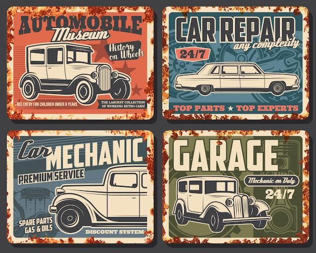 Vecchie automobili e veicoli di piastra metallica arrugginita