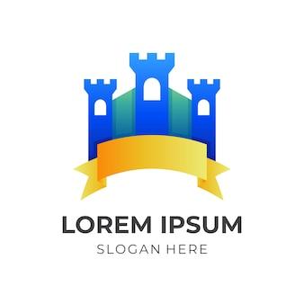 Vecchio logo del castello con stile colorato 3d