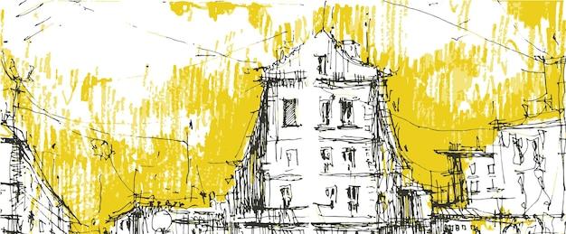 Disegnato a mano di strada centrale della città vecchia.