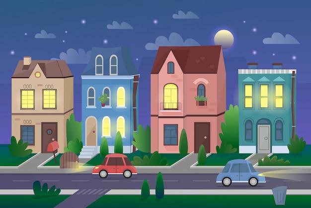 Vecchio paesaggio della città nell'illustrazione di vettore del fumetto di notte. vita cittadina, area di vita urbana, centro città. case carine zona residenziale