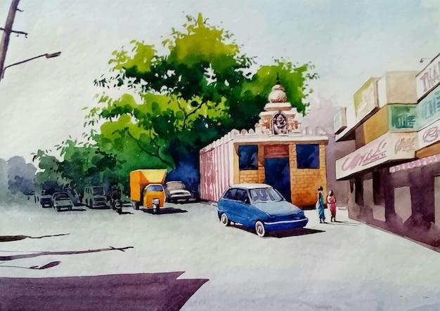 Vecchia via della città nell'illustrazione disegnata a mano di schizzo