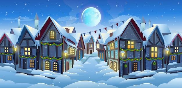 Vecchia strada della città con case in stile chalet e albero di natale in inverno illustrazione di cartone animato vettoriale