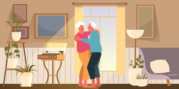 Le vecchie coppie trascorrono del tempo insieme. donna e uomo in pensione. nonno e nonna felici ballano a casa. illustrazione
