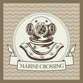 Vecchio casco subacqueo nautico grigio vintage emblema illustrazione