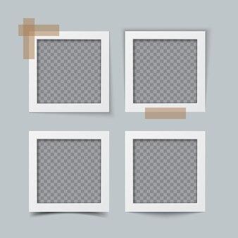 Vecchia cornice per foto realistica vuota con ombra trasparente. confine con l'album di famiglia. modello vettoriale realistico