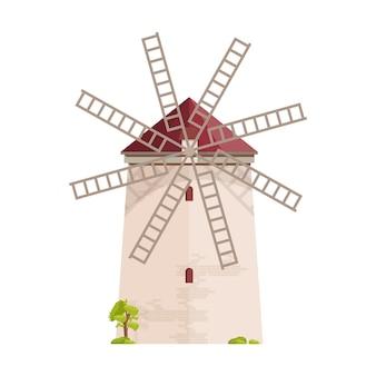 Vecchio mulino a vento europeo isolato su bianco