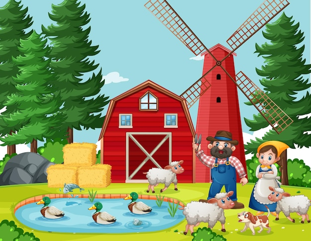 Vecchia fattoria con scena di fienile e mulino a vento