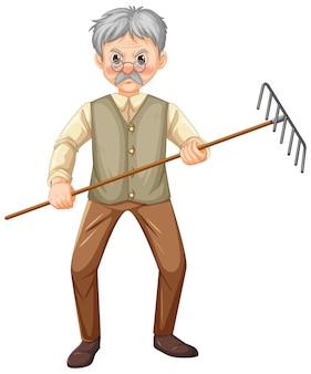 Personaggio dei cartoni animati di uomo anziano contadino che tiene attrezzo da giardino rastrello Vettore Premium