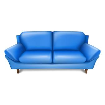 Divano blu vintage di vecchia moda nella vista frontale