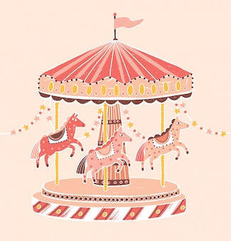 Giostra, rotatoria o giostra in stile vecchio stile con cavalli. giro di divertimento per intrattenimento per bambini decorato con ghirlande. illustrazione vettoriale colorato in stile cartone animato piatto