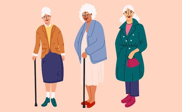 Elemento di vecchi personaggi femminili impostato in design piatto Vettore Premium