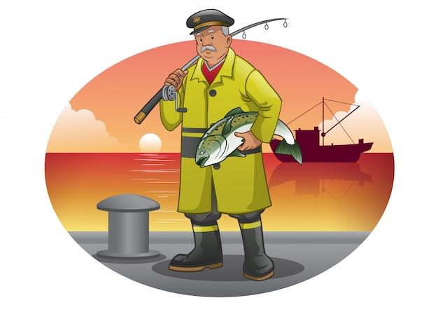 Vecchio cartone animato pescatore con giacca gialla