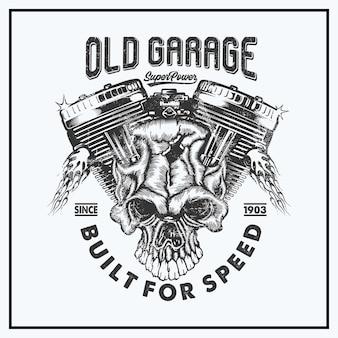 Vecchio garage con macchina e illustrazione del cranio Vettore Premium