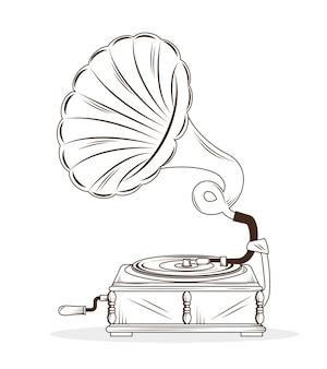 Vecchio disegno dell'icona isolato disegno grammofono