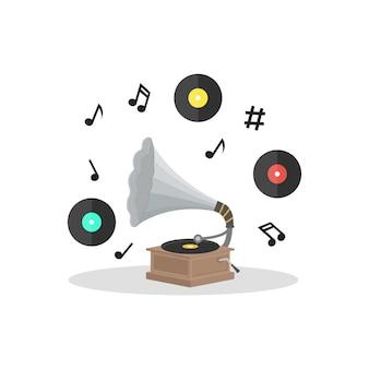 Vecchio grammofono e set di dischi in vinile. stile di design piatto