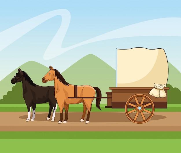 Vecchia carrozza con cavalli sul paesaggio