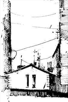 Vecchia casa disegnata a mano.