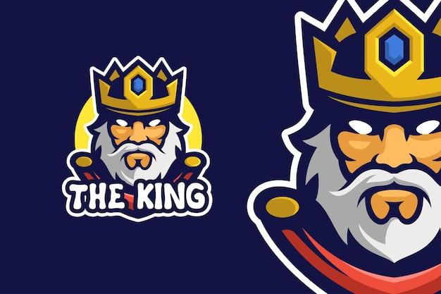 Modello di logo del personaggio della mascotte del vecchio re