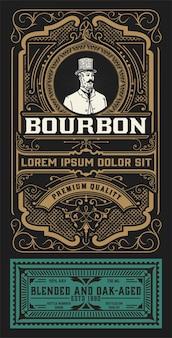 Vecchia etichetta design per bourbon
