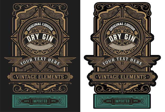 Vecchia etichetta design per illustrazione di liquori