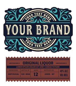 Vecchio disegno dell'etichetta per etichetta di whisky e vino, banner ristorante, etichetta di birra.