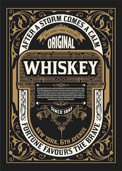 Vecchio design dell'etichetta per l'etichetta di whisky e vino