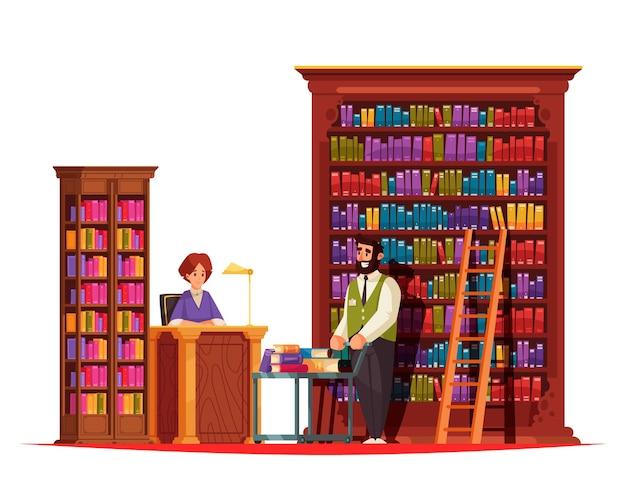 Vecchia composizione di libri da biblioteca con scaffali alti in legno e personaggi di doodle di bibliotecario con dipendente