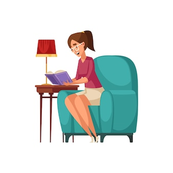 Vecchia composizione interna della biblioteca con carattere umano del libro di lettura della donna sulla sedia morbida