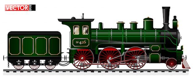 Una vecchia locomotiva di colore verde con un motore a vapore e un tender. vista laterale. dettagli e meccanismi tracciati.