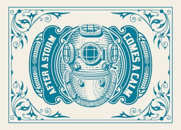 Vecchio logo con cornice floreale e casco da sub