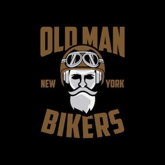 Vecchio motociclista new york logo design