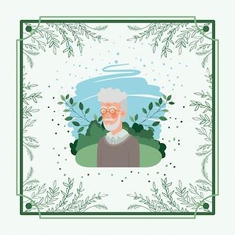 Carta di uomo anziano con cornice a base di erbe