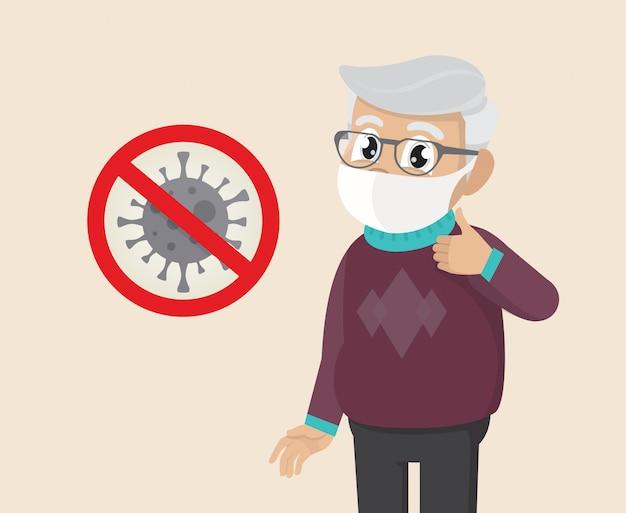 Il fronte della copertura dell'uomo anziano con la maschera medica e la mostra sfoglia sul simbolo. stop covid-19 sign