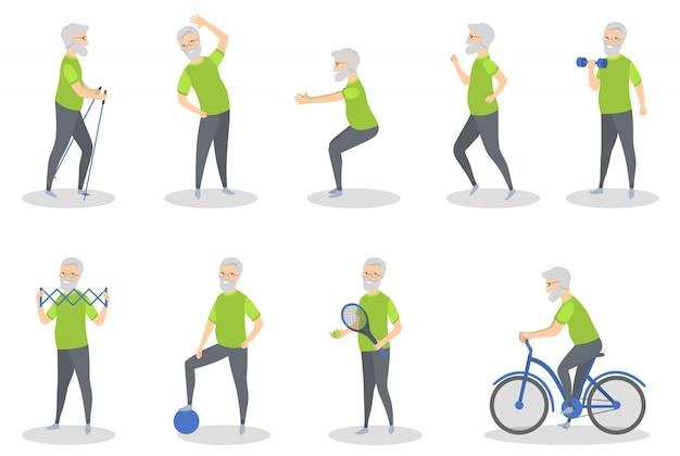 Uomo anziano che fa sport con attrezzatura su bianco.