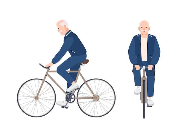 Vecchio vestito con abbigliamento sportivo in sella a una bici