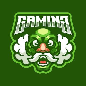 Mascotte del logo di gioco dell'uomo anziano