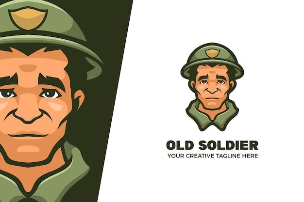Modello di logo del personaggio della mascotte dell'esercito del vecchio soldato