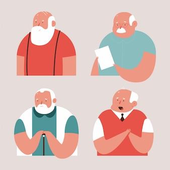 I personaggi dei cartoni animati di vettore dell'uomo anziano hanno impostato isolato.